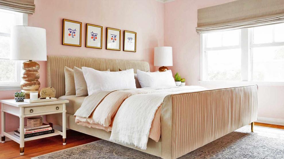 Sơn phòng ngủ sơn màu hồng nhạt nhẹ nhàng thanh thoát - Kienthucsonnuoc.vn